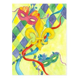 Mardi Gras Fleur De Lis Postcard Watercolor Art