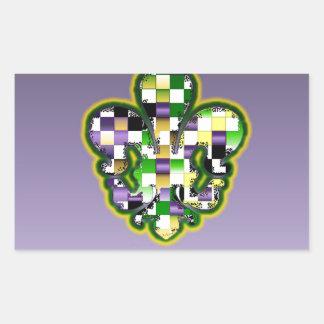 Mardi Gras Fleur De Lis  Purple Green Yellow Rectangular Sticker