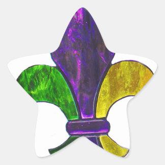 Mardi Gras Fleur De Lis  Purple Green Yellow Star Sticker