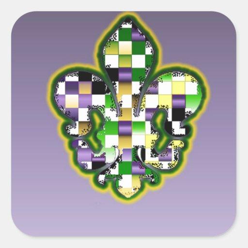 Mardi Gras Fleur De Lis  Purple Green Yellow Square Sticker