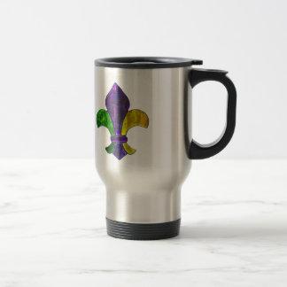 Mardi Gras Fleur De Lis  Purple Green Yellow Travel Mug