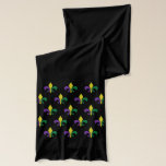 """Mardi Gras ~ Fleur De Lis Scarf<br><div class=""""desc"""">A pattern of traditional Fleur de Lis in Mardi Gras colors of royal purple,  gold and green on a sheer chiffon scarf to wear where ever you party ...  New Orleans,  Galveston,  San Francisco,  Mobile</div>"""