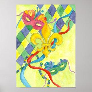 Mardi Gras Fleur De Lis Watercolor Art Poster