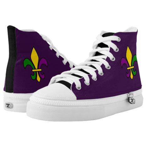 Mardi Gras fleur-de-lys High-Top Sneakers