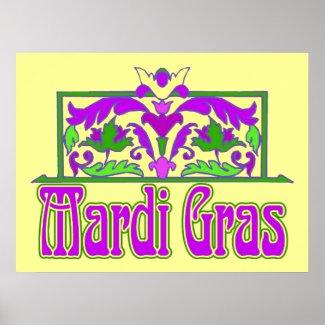 Mardi Gras Floral Sign print