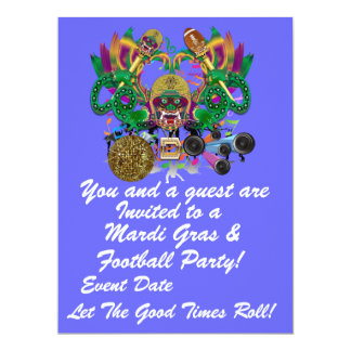 "Mardi Gras & Football 6.5"" x 8.75"" View Hints Plse Card"
