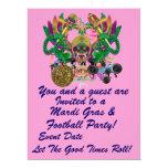 """Mardi Gras & Football 6.5"""" x 8.75"""" View Hints Plse 6.5x8.75 Paper Invitation Card"""