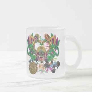 Mardi Gras Football Dragon King view notes Please Frosted Glass Coffee Mug
