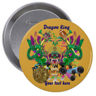Mardi Gras Football Dragon King view notes Please Pinback Button