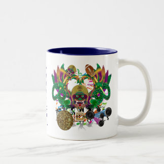 Mardi Gras Football Dragon King view notes Please Two-Tone Coffee Mug