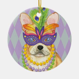 Mardi Gras Frenchie Ceramic Ornament