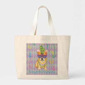 Mardi Gras Frenchie Large Tote Bag