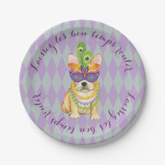 Mardi Gras Frenchie Paper Plate