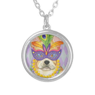 Mardi Gras Frenchie Silver Plated Necklace