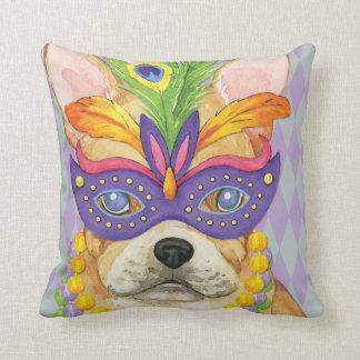Mardi Gras Frenchie Throw Pillow