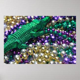 Mardi Gras Gator Beads Print