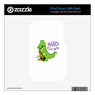 MARDI GRAS GATOR DECALS FOR iPod TOUCH 4G
