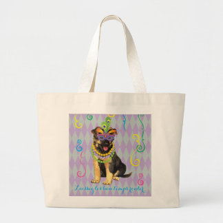 Mardi Gras German Shepherd Large Tote Bag