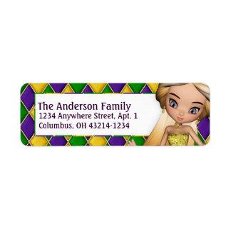 Mardi Gras Girl d1 Return Address Labels