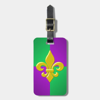 Mardi Gras Gold Fleur-de-lis on Purple and Green Luggage Tag