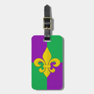 Mardi Gras Gold Fleur-de-lis on Purple and Green Luggage Tag