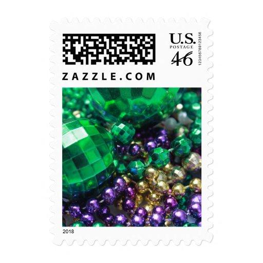 Mardi Gras Green Beads Postage Stamps