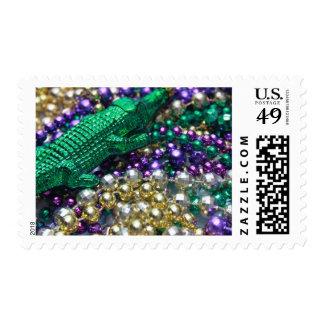 Mardi Gras Green Gator Beads Postage Stamps