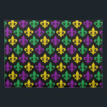 "Mardi Gras Green Gold and Purple Fleur-de-lis Cloth Placemat<br><div class=""desc"">(Design &#169; 2014 Deborah Dalio) — Break out the festive linens for Mardi Gras and celebrate with these colorful placemats which feature a pattern of purple,  green,  and gold fleur-de-lis symbols on a black background.</div>"