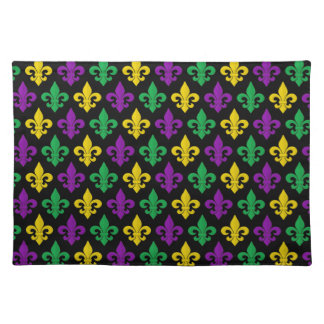 Mardi Gras Green Gold and Purple Fleur-de-lis Cloth Placemat