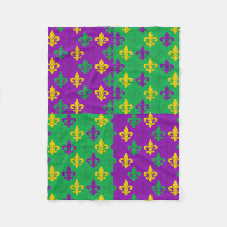 Mardi Gras Green Gold and Purple Fleur-de-lis Fleece Blanket