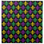 Mardi Gras Green Gold Purple Fleur-de-lis Pattern Cloth Napkin<br><div class='desc'>(Design &#169; 2014 Deborah Dalio) — This colorful cloth napkin features a festive purple,  green,  and gold fleurs-de-lis Mardi Gras design.  (Color codes: Purple = 8c0daa; Green = 0dab48; Gold = f0d100)</div>
