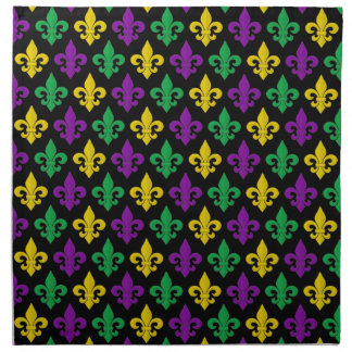 Mardi Gras Green Gold Purple Fleur-de-lis Pattern Cloth Napkin