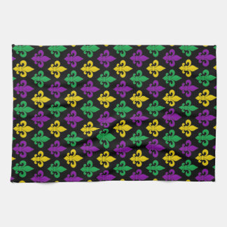 Mardi Gras Green Gold Purple Fleur-de-lis Pattern Hand Towels