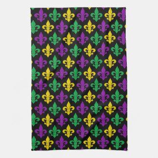 Mardi Gras Green Gold Purple Fleur-de-lis Pattern Kitchen Towel
