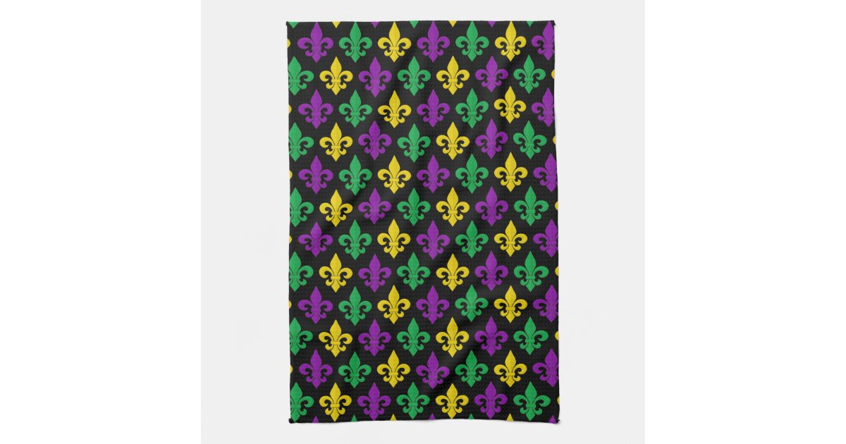 Mardi Gras Green Gold Purple Fleur De Lis Pattern Kitchen