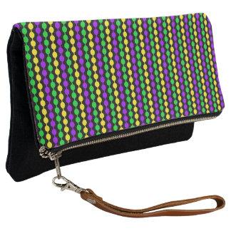 Mardi Gras Green, Yellow, Purple Beads on Black Clutch