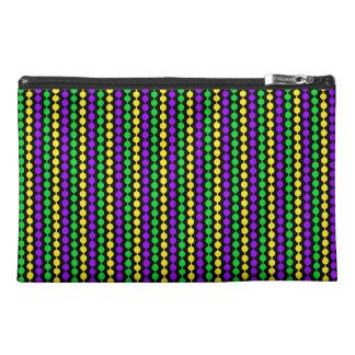 Mardi Gras Green, Yellow, Purple Beads on Black Travel Accessory Bag
