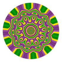 Mardi Gras Green Yellow Purple Pattern Mandala Invitation