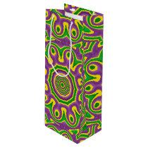 Mardi Gras Green Yellow Purple Pattern Mandala Wine Gift Bag