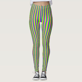 Mardi Gras Green, Yellow, Purple Stripes Leggings