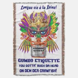 Mardi Gras Gumbo Queen Read About the Design Throw Blanket