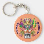 Mardi Gras Gumbo Queen View Hints please Basic Round Button Keychain