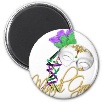 mardi gras half mask 2 inch round magnet
