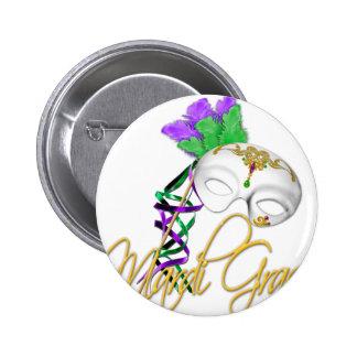 mardi gras half mask button