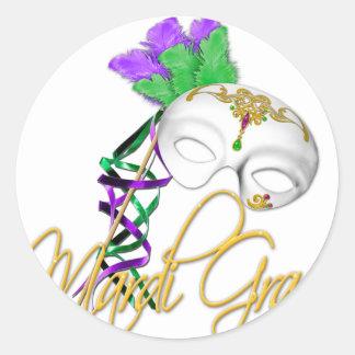 mardi gras half mask classic round sticker