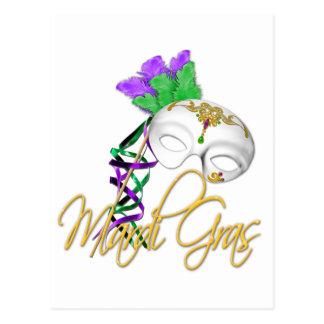 mardi gras half mask post card