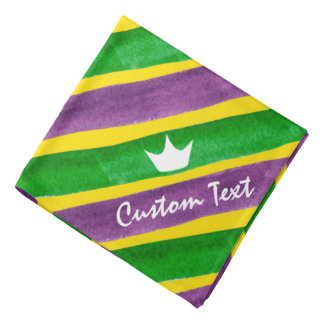Mardi Gras Hand Painted Purple Green Gold Stripes Bandana