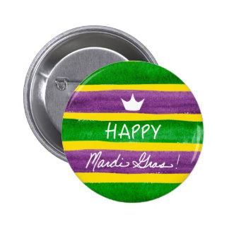 Mardi Gras Hand Painted Purple Green Gold Stripes Button