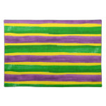 Mardi Gras Hand Painted Purple Green Gold Stripes Cloth Placemat