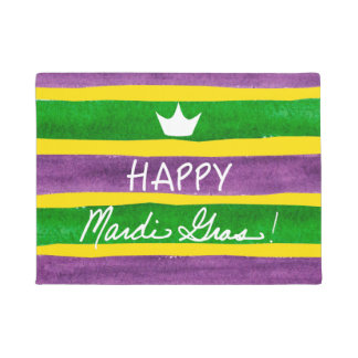Mardi Gras Hand Painted Purple Green Gold Stripes Doormat